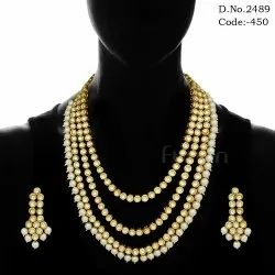 3 Line Vilandi Kundan Pearl Necklace Set
