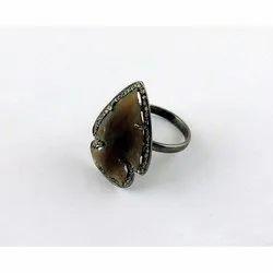 Gemstone Arrowhead CZ Set Ring