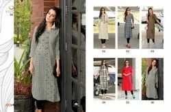 100 Miles Vision Cotton Embroidered Kurtis (Pack of 10)
