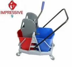 Impressive 9 Double Bucket Wringer Trolley with Tray - 40L