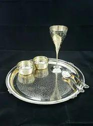 Golden Platter Brass Thali Set, Packaging Type: Carton