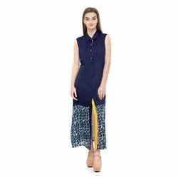 Blue Fancy Sleeveless Long Top