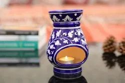 Flower Painted Aroma Diffuser Blue Pottery