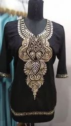 Cotton Mid Thigh Ladies Fancy Embroidered Kurti