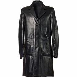 Adel International Long Black Leather Jacket