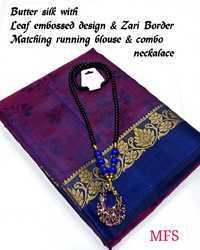 Wedding Wear embosh design Butter silk sarees, 6.3 m (with blouse piece)