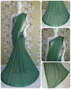Georgette Fashion Arrival Stone Work Green Color Saree