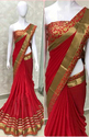 Georgette With Heavy Border Red  Saree