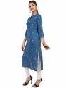 Women's Rayon Printed Blue Kurta