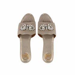56d90cc2514 Light Gold Embellished Flat Sandals