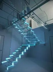 Laminated Toughened Glass & SS Staircase