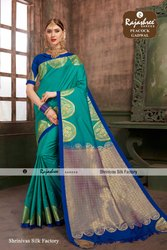 Party wear Peacock Gadwal Fancy Sarees, 6 M (with Blouse Piece)