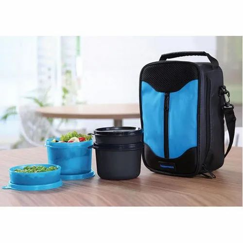 Blue And Black Pp Plastic Insulated Lunch Box, Capacity: 250 - 500 Ml, 2 Round Lunch Boxes