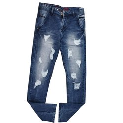 Casual Wear Regular Fit Mens Denim Ripped Jeans, Waist Size: 28-34