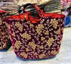 Canvas Jari Embroidery Handbag