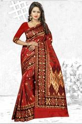 Maroon Banarasi Art Silk Saree With Unstitched Blouse