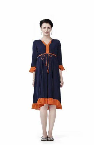 5848d4ccede8a Orange Plain Ruffle Hem Maternity Dress, Rs 1499 /piece, House Of ...
