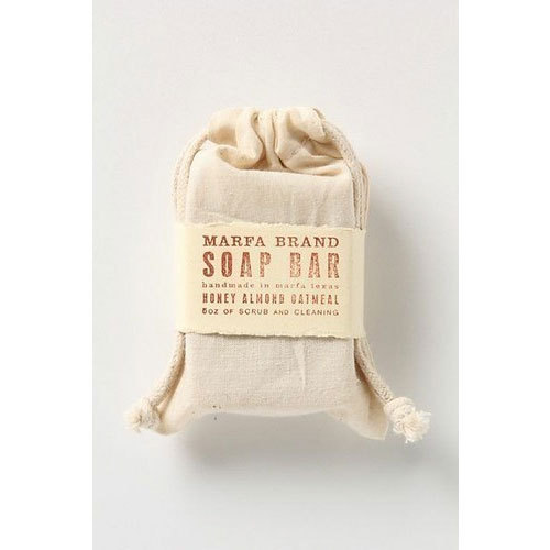 Off White Printed Fabric Soap Pouch