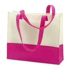 Non Woven Cream & Pink Promotional Shopping Bag, Size: Available In Various Sizes