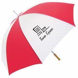 Red, White Plain Promotional Polyester Umbrella