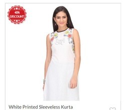 White Printed Sleeveless Kurta