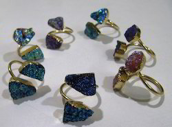Druzy Solar Titanium Coated Double Stone Rings