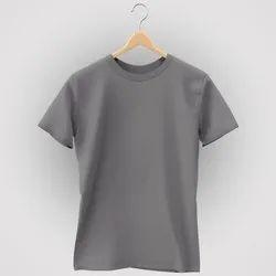 Mens Plain Light Grey Half Sleeves T Shirt, Size: M_XXL