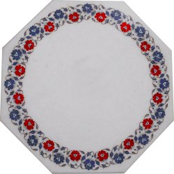 Multi Floral Stone Marble Table Top Mosaic Inlaid Garden