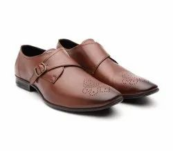 Men Brown Perforated Leather Formal Monks Shoes, Size: 6-11