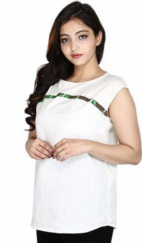710ec8f520a9c4 Cotton Round Neck Womens Tussar Silk Plain Top White Color, Rs 2800 ...