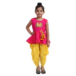 Indo Western Green & Pink Peplum Dhoti For Girls, 01 Years to 12 Years