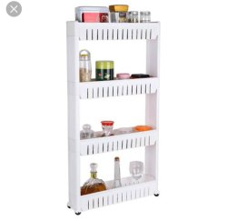Plastic White 4 Layer Trolly Kitchen Rack