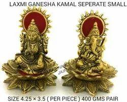 Gold Plated Lotus Laxmi Ganesh