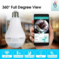 1.3 MP Dome Wireless Panoramic Bulb Type Spy Camera 360 Degree, For Security, Lens Size: 1.29mm