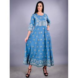 Round Neck Printed Kurti, Size: M and L