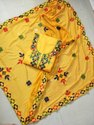Chanderi Ari Work Yellow Suit