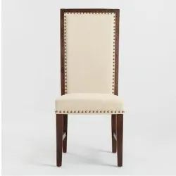 Soni Art Exports Brown & White Color Long Back White Wooden Dining Chair With Cushion 18x18x42 inch