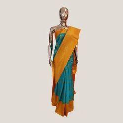 Rama Green & Orange Silk Saree