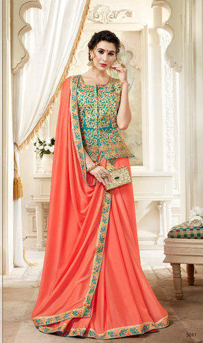 79847218cf05f6 Silk Orange Heavy Border Saree with Full Embroidered Long Jacket Blouse,  Saree Length: 5.5