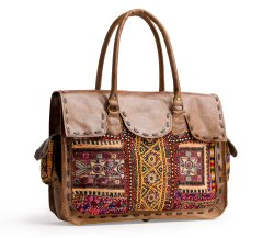Leather Embroidered Shoulder Bag