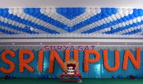 Ceiling And Name Balloon Decoration Services And Blue Canopy