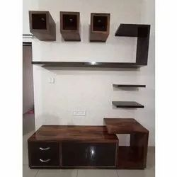 Brown Wall Mounted Wooden TV Cabinet, For Home