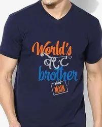 Cotton Men Printed V Neck T Shirt