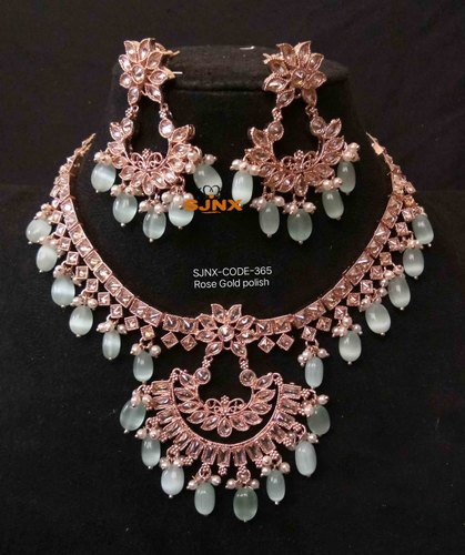 Gold Satyam Jewellery Nx Traditional Pink And White Stone Neck Fit