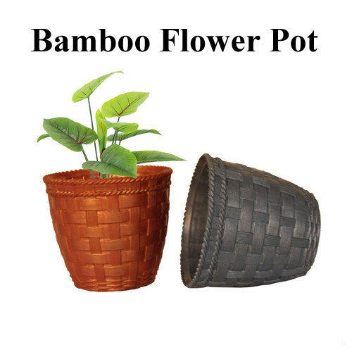 Black And Terracota Pp Plastic Bamboo Flower Pot Size 3 5 Inch