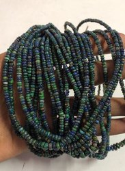 Natural Ethiopian Black Opal Gemstone Smooth Rondelle Beads