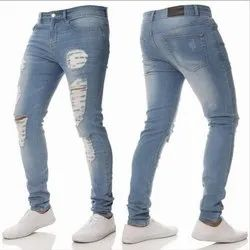 Denim Comfort Fit Mens Stretchable Blue Ripped Jeans, Waist Size: 28 to 42