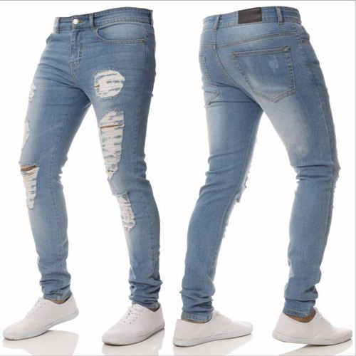 774176f3e Denim Comfort Fit Mens Stretchable Blue Ripped Jeans, Waist Size: 28 to 42