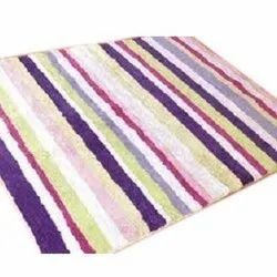 Rectangle Striped Cotton Stripped Print Floor Rug