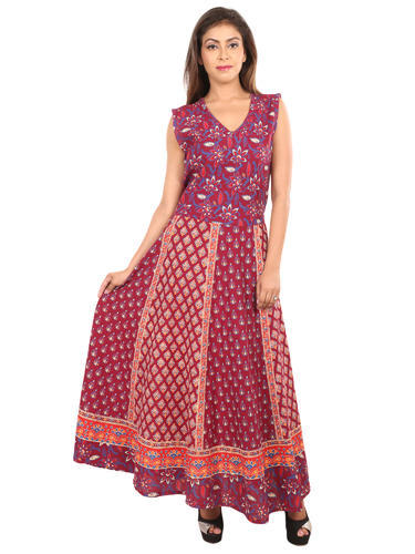 a7532d14abe Fashion Store Present Cotton Jaipuri Printed Dress Without Jacket at ...